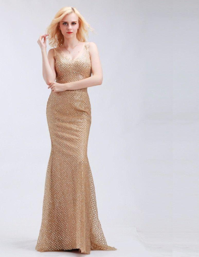 Dark Champagne Mermaid Evening Gowns V-Neck Sexy Tulle Stunning Sequins New Sheath Sweep Train Prom Dresses-Dress-SheSimplyShops