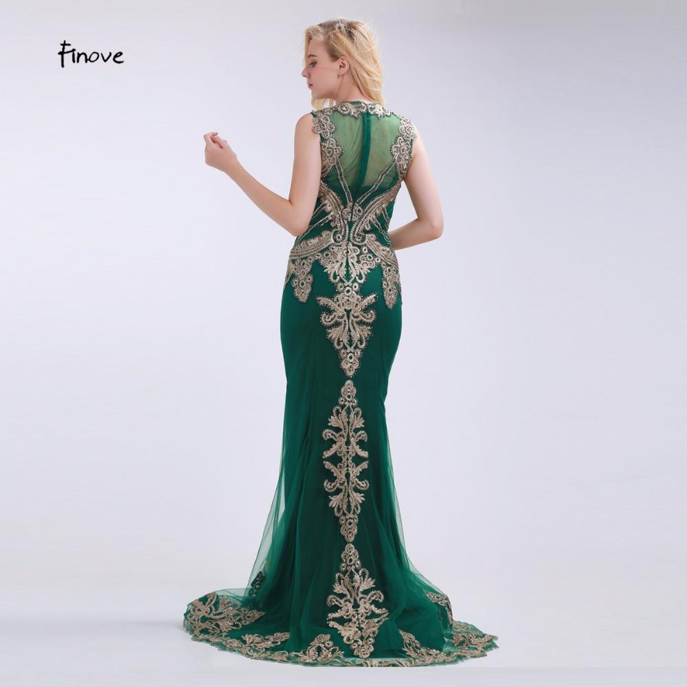 Green Mermaid Evening Dresses Beading and Appliques Sexy See-Through Court Train Elegant Floor Length O-Neck Gowns-Dress-SheSimplyShops