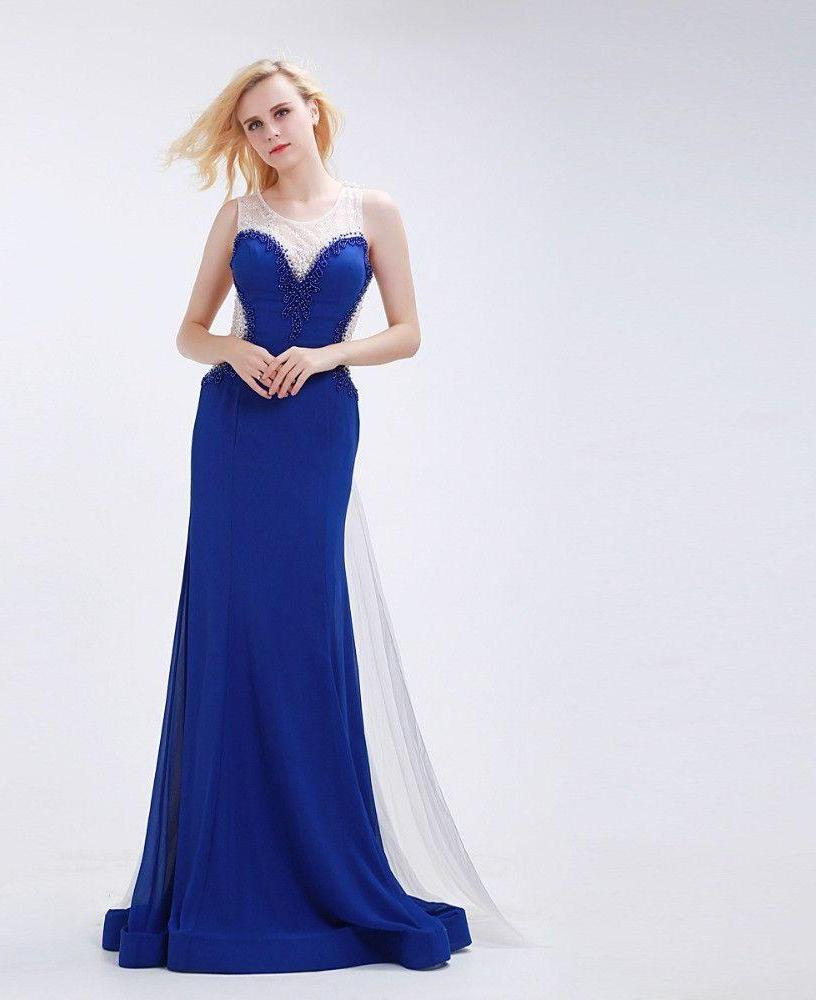 Blue Evening Dresses Long Elegant with O-neck Sleeveless Beading See-through Back Prom Gowns-Dress-SheSimplyShops