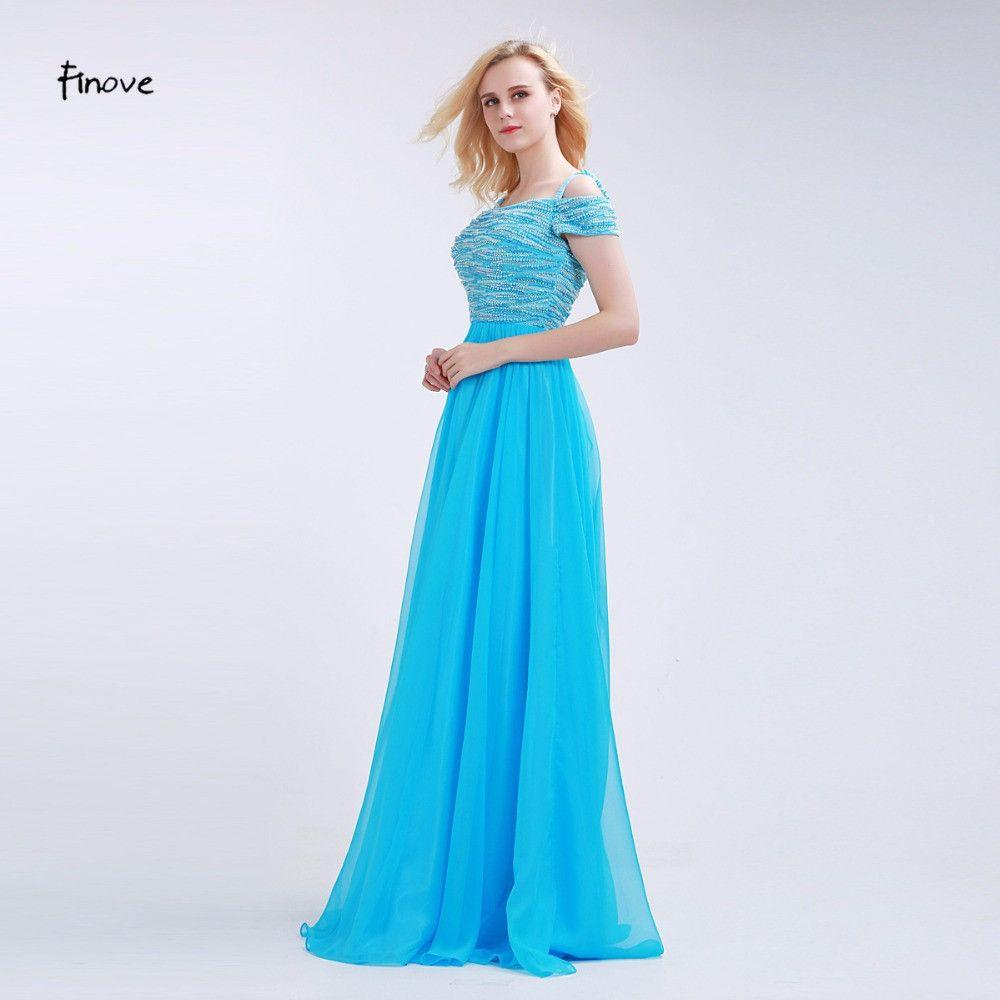 Blue Beading Prom Dresses Fashionable Boat Neck Off the Shoulder with Strap A-Line New Floor-Length Party Dresses-Dress-SheSimplyShops