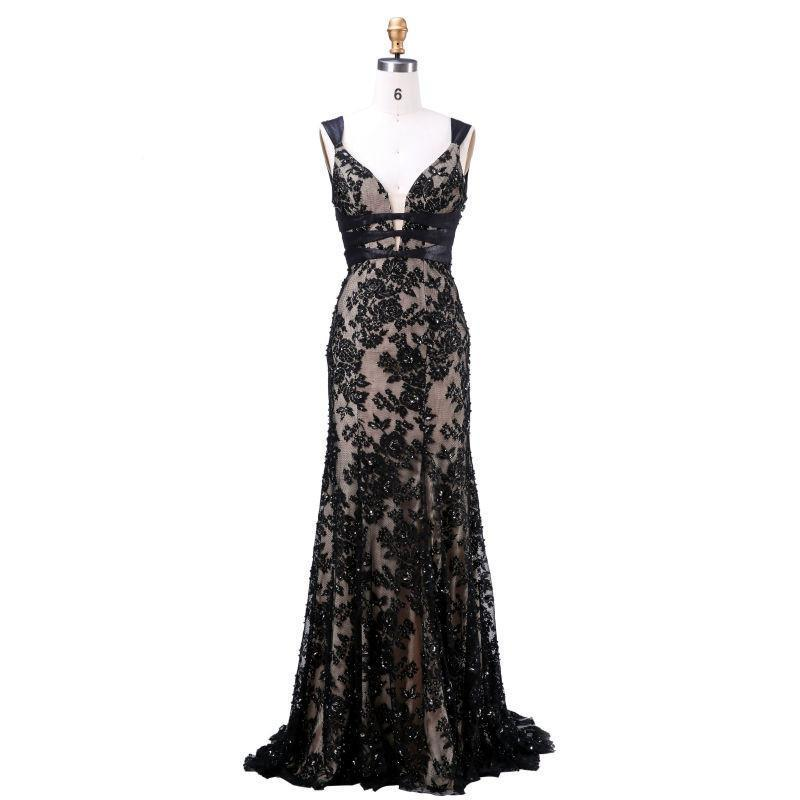 Long Evening Gowns New Arrival With V-Neck Backless Appliques Beading Floor-length Sexy Prom Dress-Dress-SheSimplyShops
