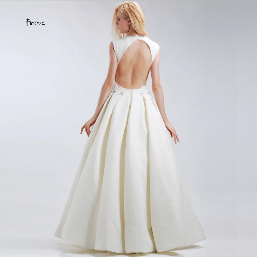 White A-Line Prom Dresses High Quality Elegant With Scoop Neck Sleeveless Criss-Cross Floor Length Evening Dresses-Dress-SheSimplyShops
