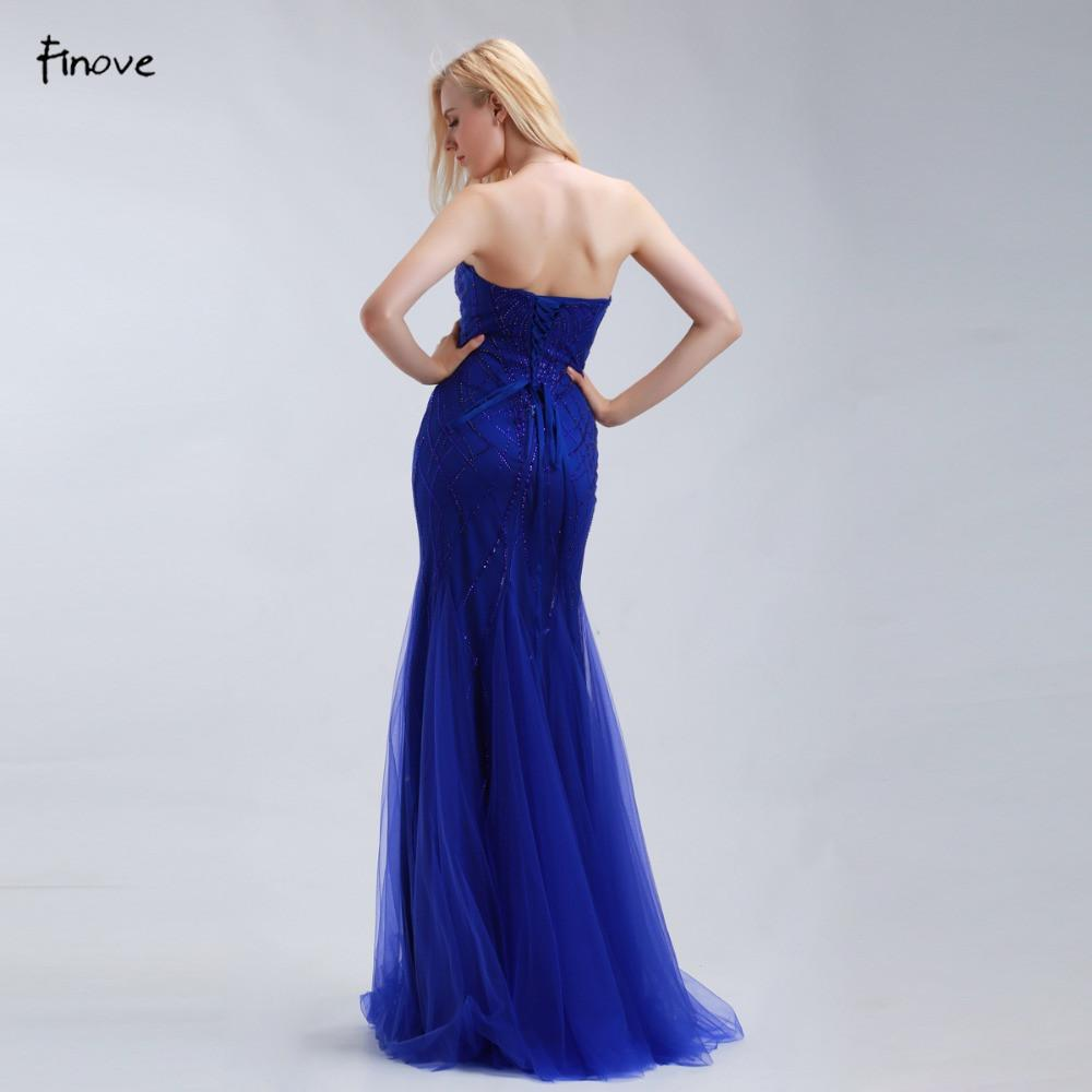 Royal Blue Mermaid Evening Dresses Long New Style Beaded Sweetheart Elegant Prom Gowns-Dress-SheSimplyShops