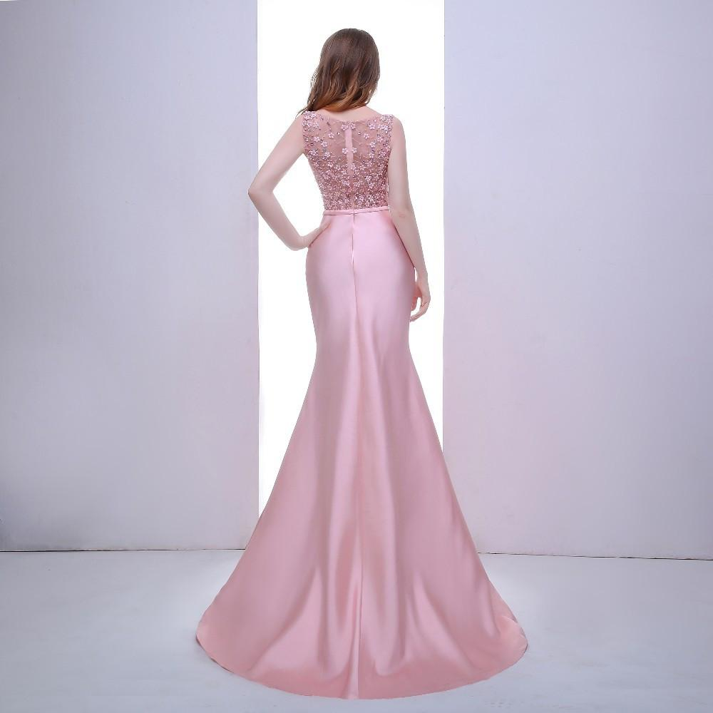 Elegant Mermaid Long Evening Dresses with Scoop Neck Sleeveless Flowers Pink Prom Dresses Formal Gowns-Dress-SheSimplyShops