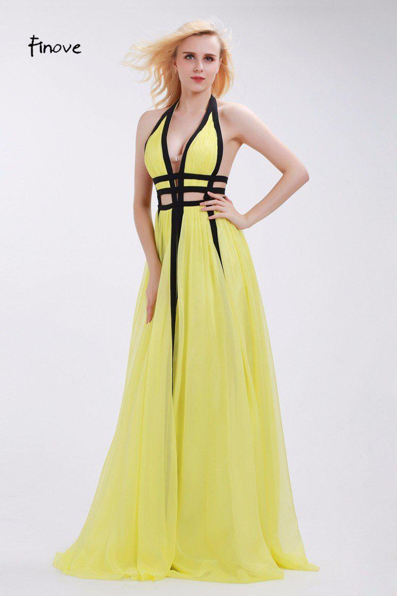 Light Yellow Chiffon Prom Dresses Halter Sexy Hollow Out Black Ribbons Deep V-Neck Backless Long Dresses for Women-Dress-SheSimplyShops