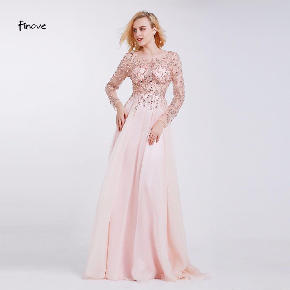 Formal Evening Dresses Boat Neck Long Sleeve Crystal Beading By Hand See-through Prom Dresses-Dress-SheSimplyShops