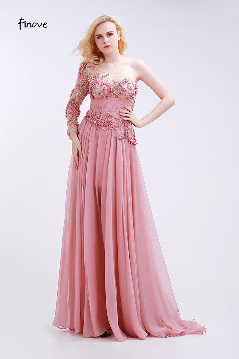Dusty Pink Bridesmaid Dresses See-Through Tulle with Appliques Beading Modern Empire One Shoulder Chiffon Dresses-Dress-SheSimplyShops