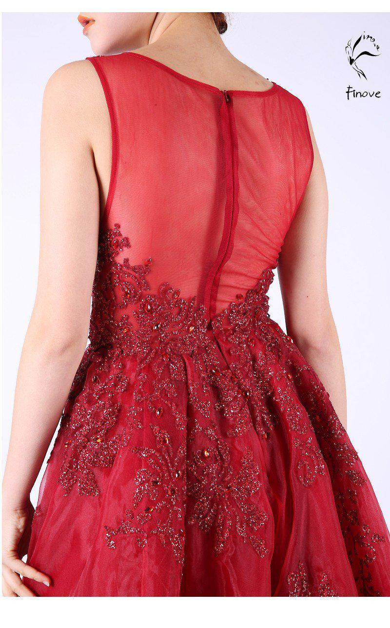 Red Evening Dresses Elegant With Crystal Beading Sleeveless Scoop-Neck Long Prom Gown-Dress-SheSimplyShops