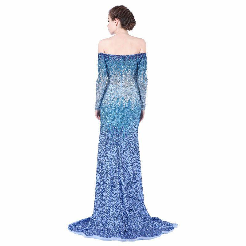 Dazzling Boat-neck Sexy Design Evening Dresses Long Heavy Beaded Off the Shoulder Full Sleeve Royal Blue Mermaid Prom Dress Part-Dress-SheSimplyShops