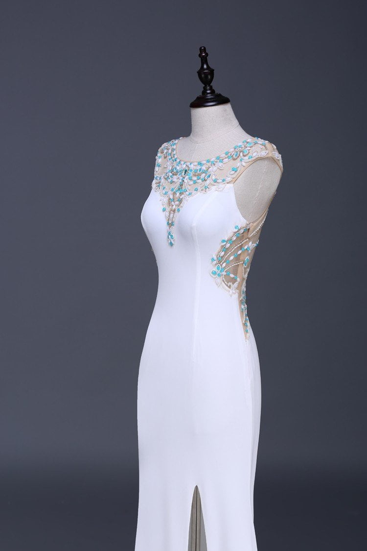 New Plus Size Prom Dresses with White Sexy Beading Mermaid Jersey Formal Evening Dresses Long Chapel Train-Dress-SheSimplyShops