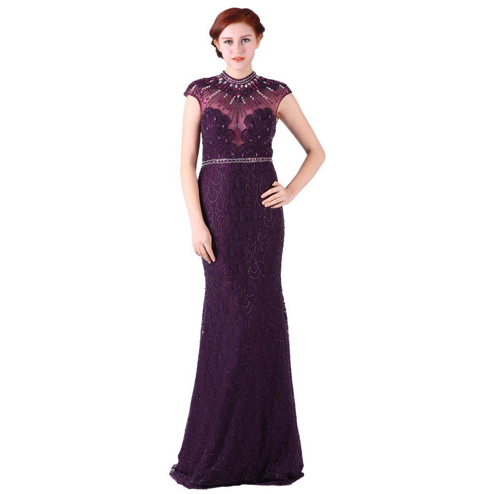 High Neck Evening Dresses Long Beaded Collar Crystal Sexy Party Illusion Chapel Train Prom Dresses-Dress-SheSimplyShops