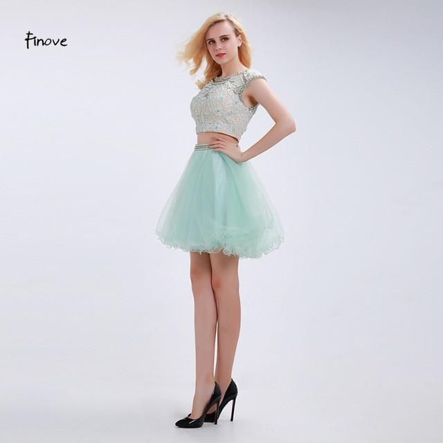 Mint Green Home coming Dresses Two-Piece Set New Crop Top Beading Appliques Backless See-Through Short Party Gowns-Dress-SheSimplyShops