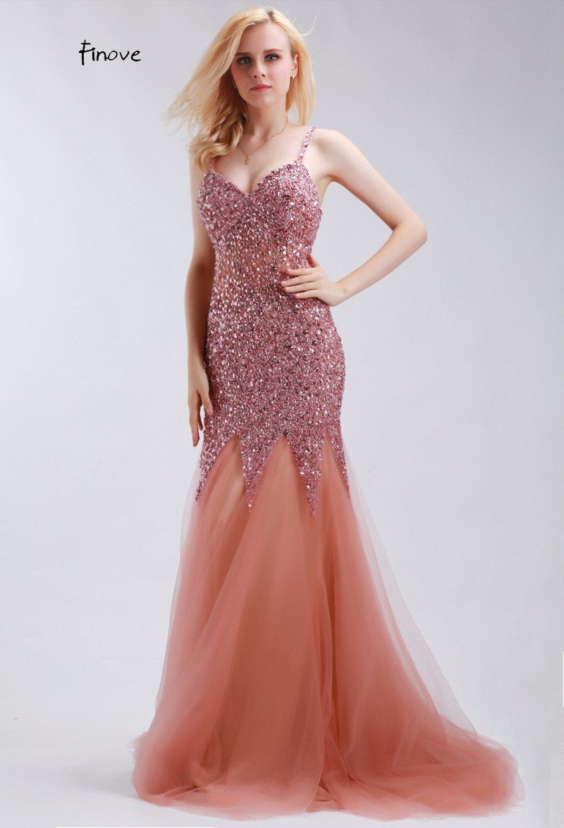 Elegant Evening Dresses Mermaid Sweetheart Court Train with Beading New Sexy Spaghetti Strap Sleeveless Prom Dresses-Dress-SheSimplyShops