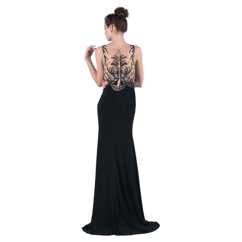Black Formal Evening Dresses New Arrival with Scoop-Neck Crystal Beading Fork Jersey Elegant Prom Party Dresses-Dress-SheSimplyShops