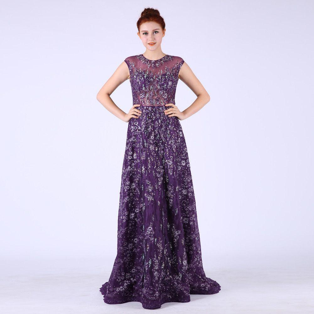 A-Line Prom Dresses Purple O Neck Beading Appuliques Crystal See Through Back Floor-Length Party Gown Evening-Dress-SheSimplyShops