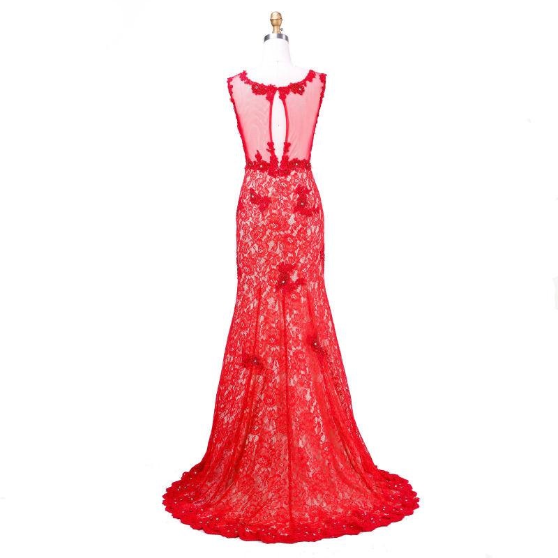 Long Prom Dresses New Arrival Elegant With Scoop-Neck Sleevess Applique Backless Red Evening Dresses-Dress-SheSimplyShops