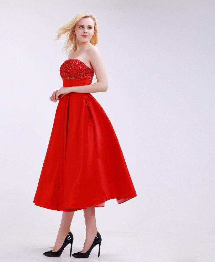 Bright Red Bridesmaid Dresses Tea-Length Elegant A-Line New Arrival Beading and Pleat Strapless Empire Party Gowns-Dress-SheSimplyShops