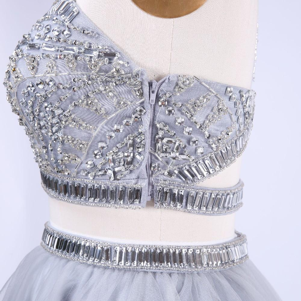 Two Pieces Short Homecoming Dresses with Halter Backless Crystal Beading Tulle Short Prom Dresses-Dress-SheSimplyShops