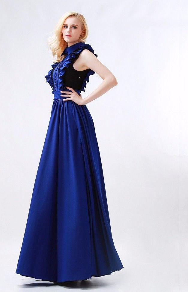 Dark Blue High Neck Prom Dresses A-Line Floor-Length New Elegant Pleat and Vintage Button Sleeveless Chiffon Party Gowns-Dress-SheSimplyShops