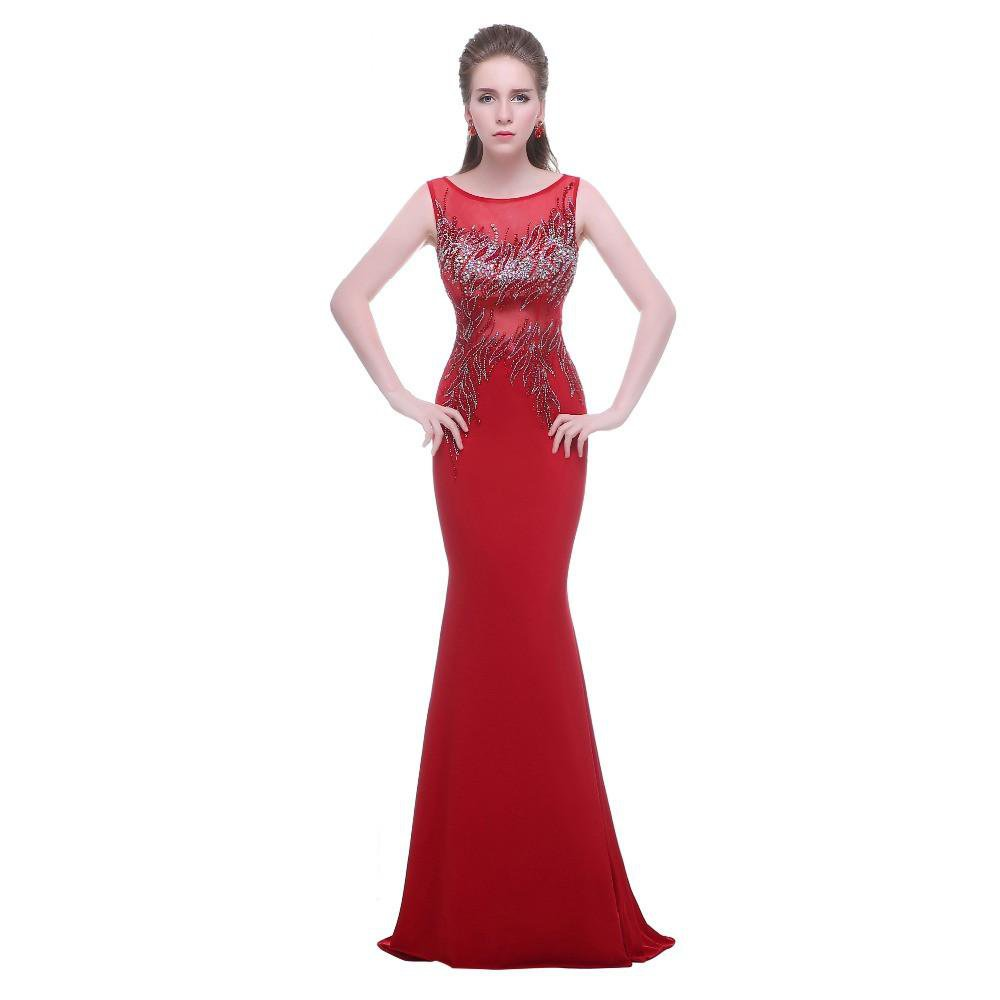 Elegant Long Evening Dresses Red with Scoop Neck See through Back New Beading Mermaid Sexy Prom Party Dresses-Dress-SheSimplyShops