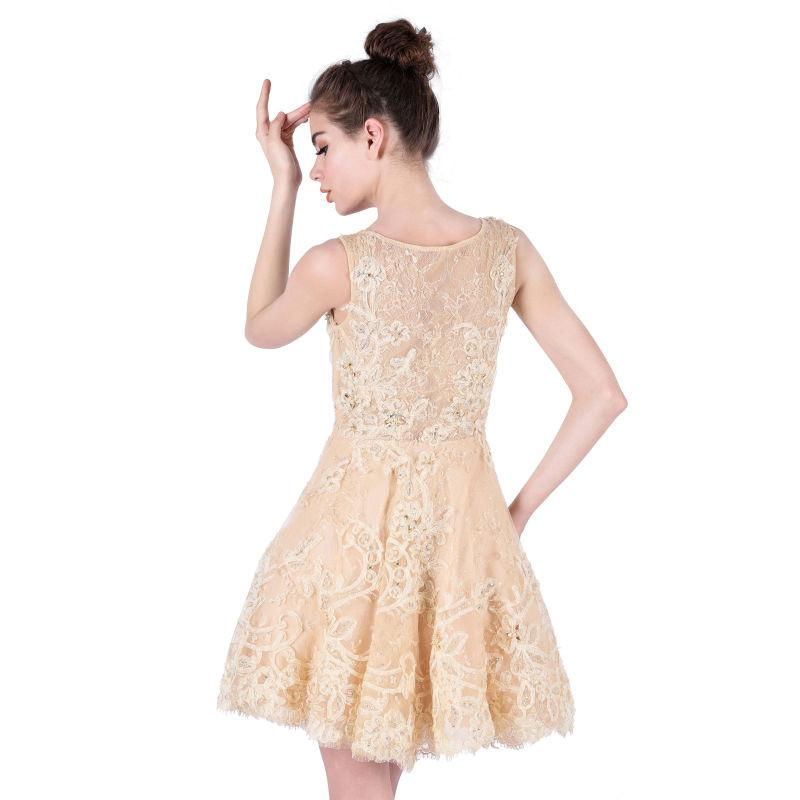 Short Prom Dresses New Arrival with Scoop Sleeveless Appliques Tulle Crystal Beading Cocktail Dresses-Dress-SheSimplyShops