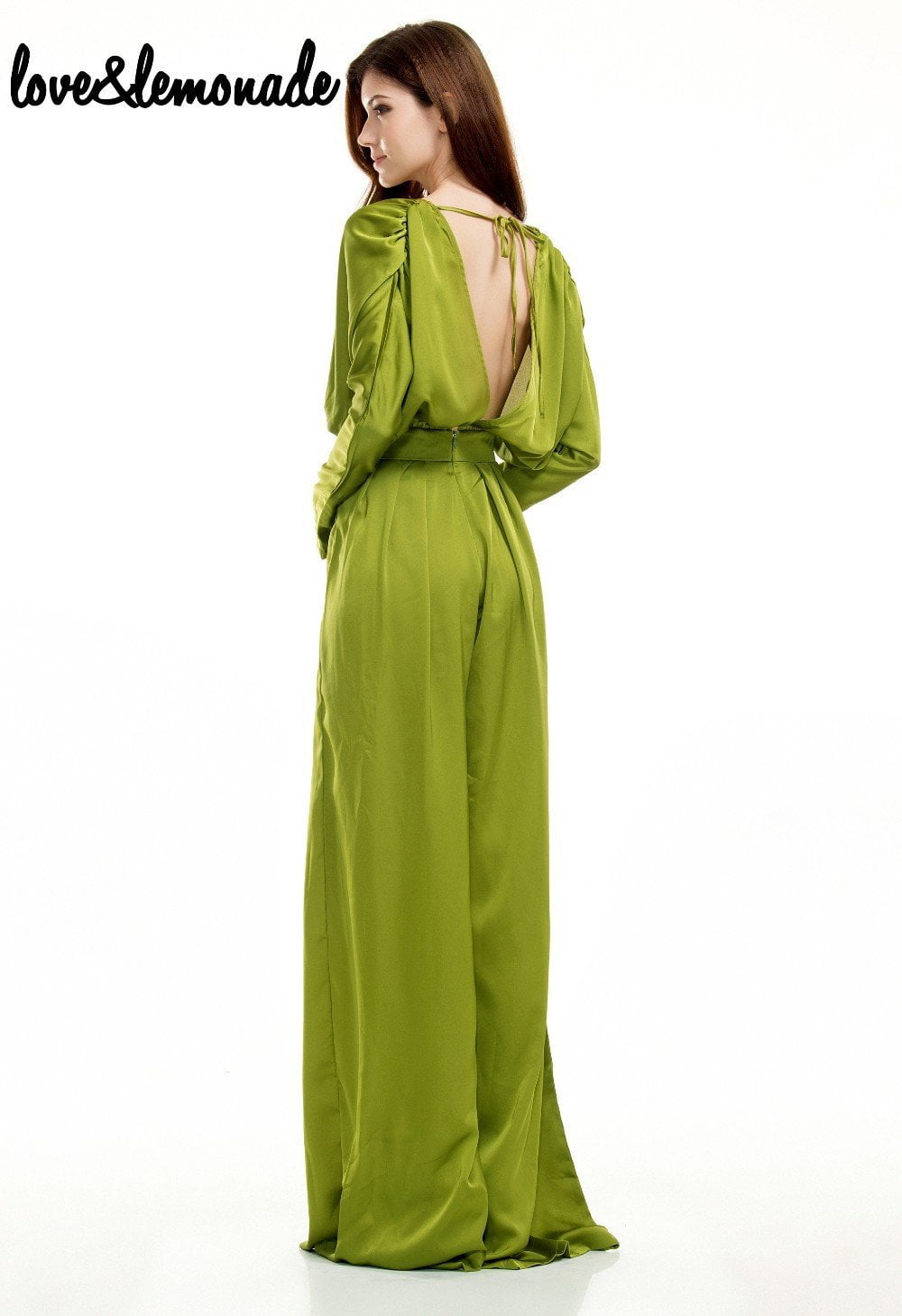 Green Sexy V-Neck High Waist Loose Jumpsuits-ROMPERS & JUMPSUITS-SheSimplyShops