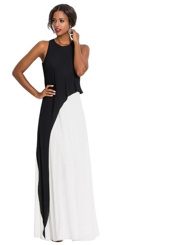 New Women's Brief Black and White Fit and Flare Sleeveless Tank Dress Party Evening Elegant Summer Maxi Dress-Dress-SheSimplyShops