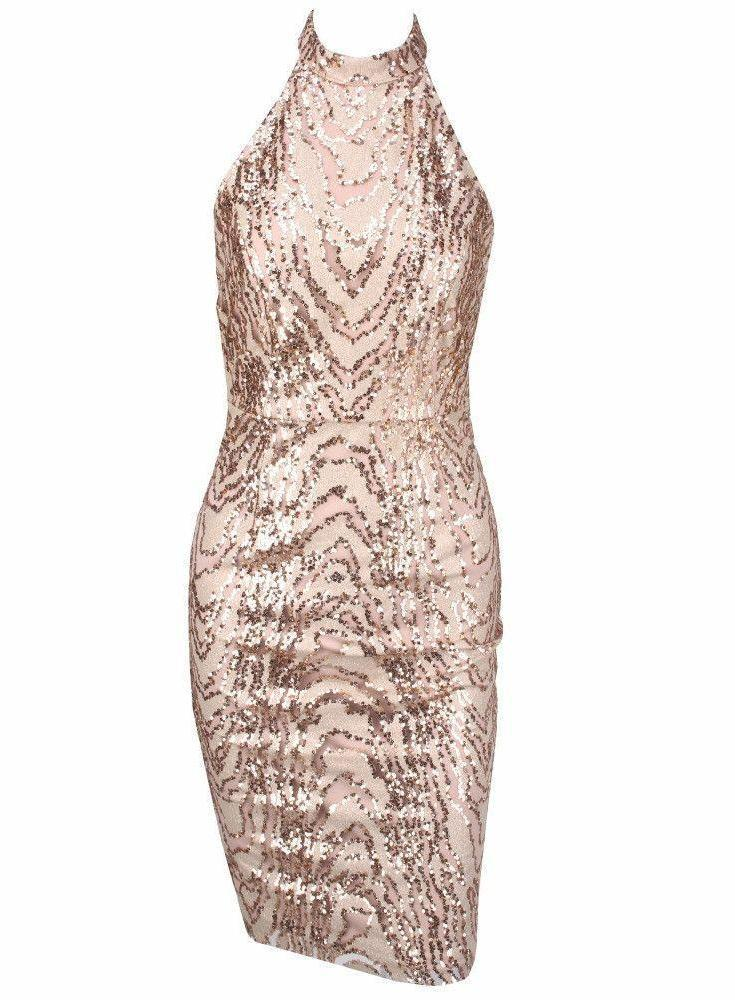 Animal Texture Sequins Halo Bodycon Dress-Dress-SheSimplyShops