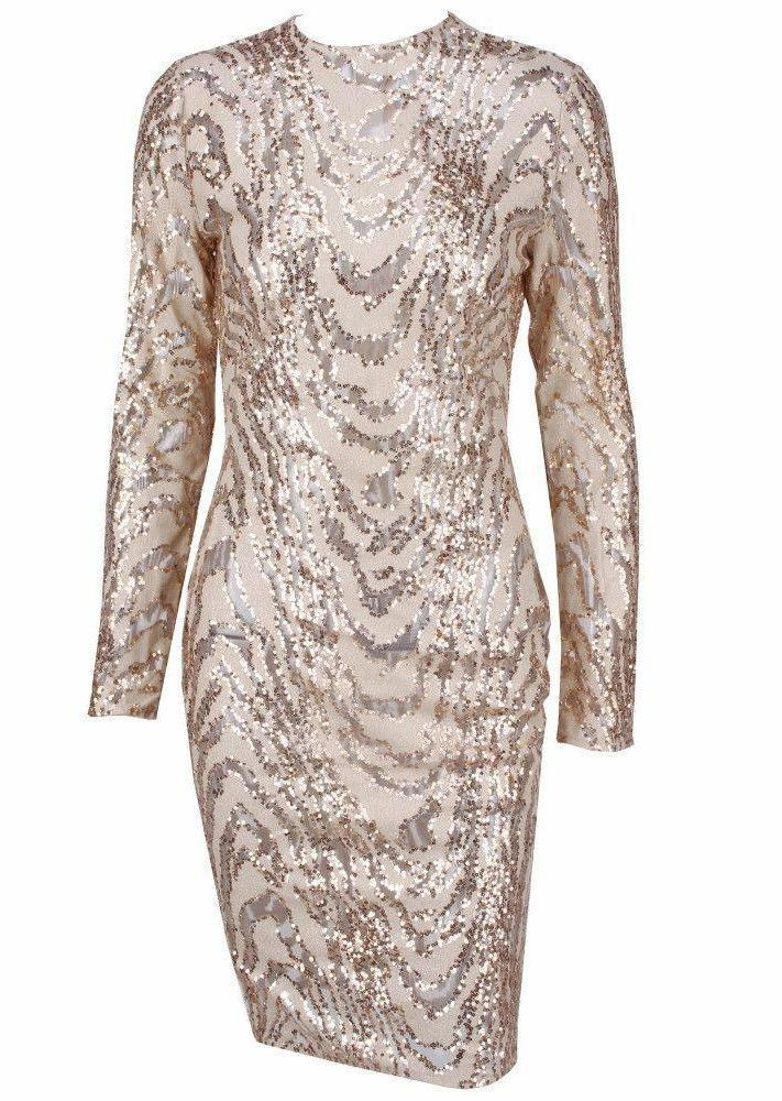 Animal Texture Sequins Perspective Long Sleeves Dress-Dress-SheSimplyShops