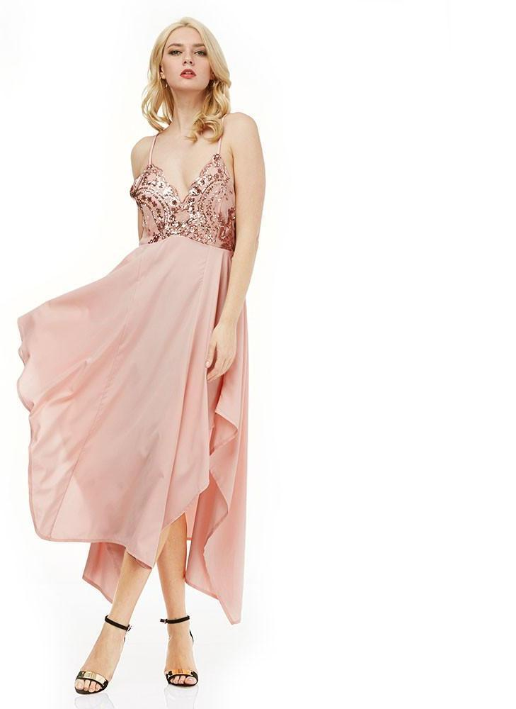 Elegant Evening Party Sexy Sequin Spaghetti Strap Dress Summer Women Sexy V-neck Blckless Asymmetrical Big Swing Dresses-Dress-SheSimplyShops