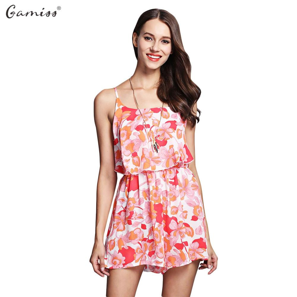 Style Women Beach Summer Playsuit Spaghetti Strap Floral Print Flounce Backless Women Chiffon Jumpsuit Outfit-ROMPERS & JUMPSUITS-SheSimplyShops