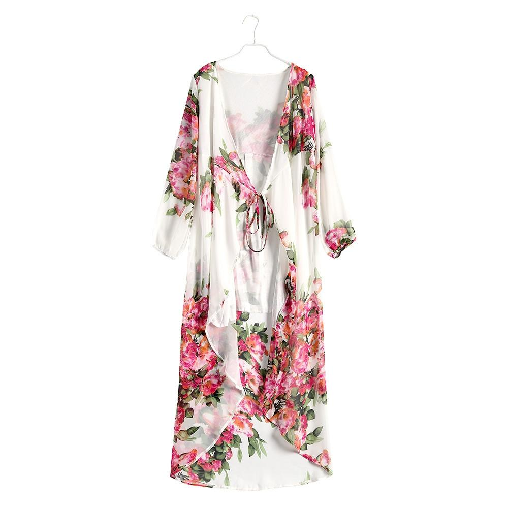 Women Style Beach Dress Sexy Neck Floral Print Chiffon Women Wrap Dresses Long Sleeve Maxi-Dress-SheSimplyShops