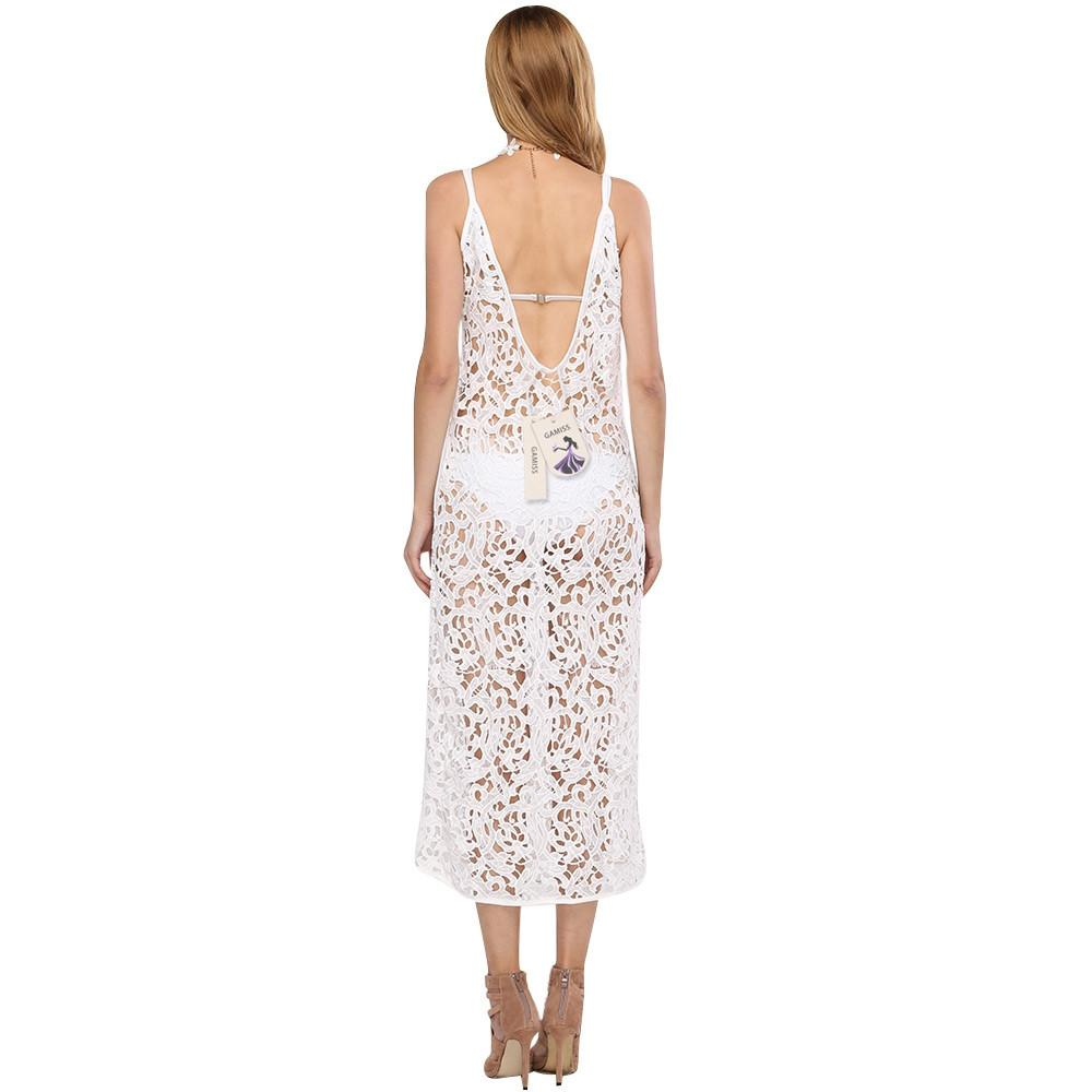Woman Long White Beach Dresses Cover Sexy Spaghetti Strap Hollow Out Crochet Lace Dress Sleeveless Backless-Dress-SheSimplyShops