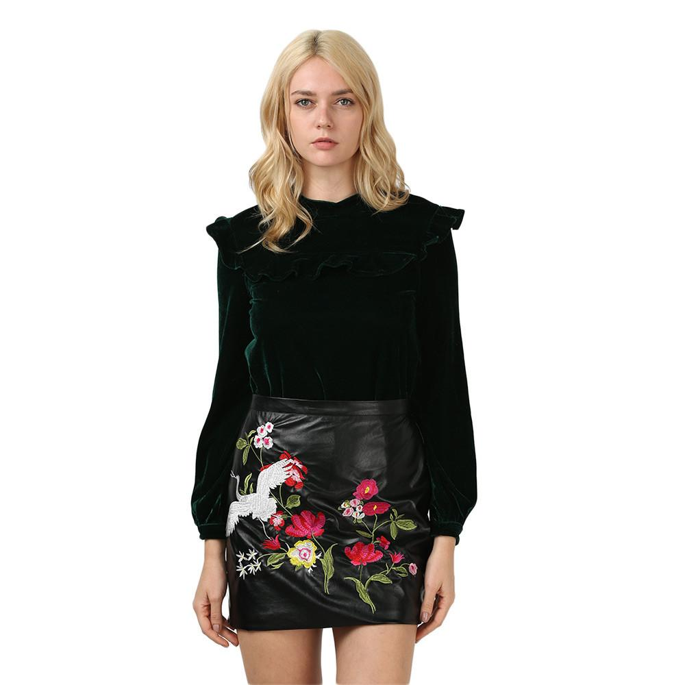 Embroidery Women PU Skirt Sexy Pencil Floral Faux Leather Skirts Retro Women Contrast Color Flower Mini Black Girl Skirt-Dress-SheSimplyShops