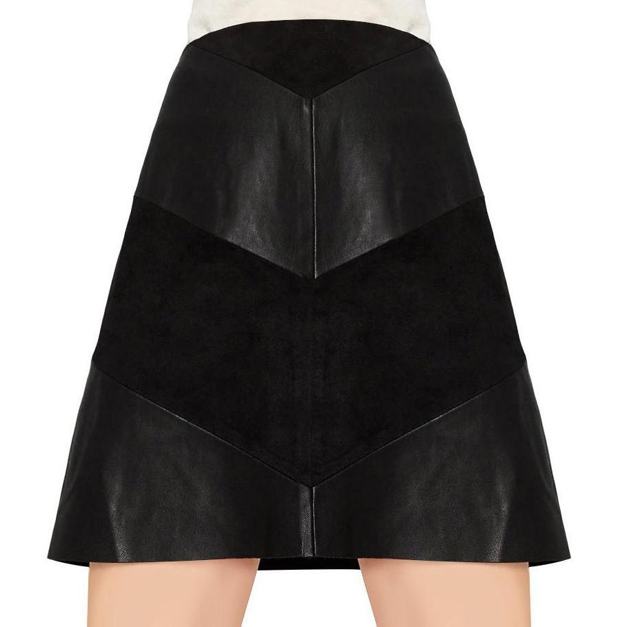 PU leather Black zipper patchwork A-line skirts-Dress-SheSimplyShops
