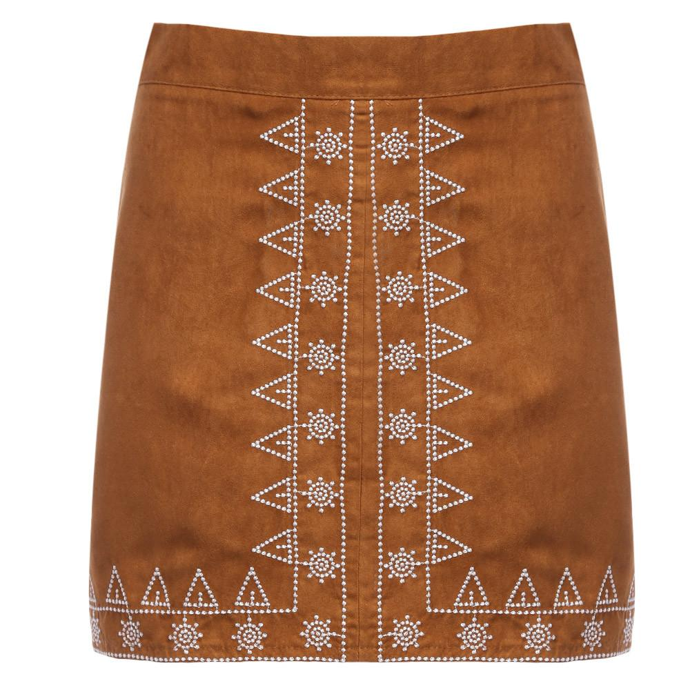 Vintage Embroidery Leather Suede pencil skirt floral retro High waist women skirs Autumn Zipper Sheath Mini Preppy Skirt-Dress-SheSimplyShops
