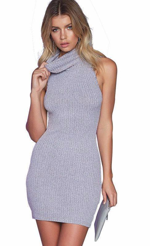 Apparel Elegant gray sleeveless knitted casual dress Women evening party sexy bodycon dress Girls Spring-Dress-SheSimplyShops
