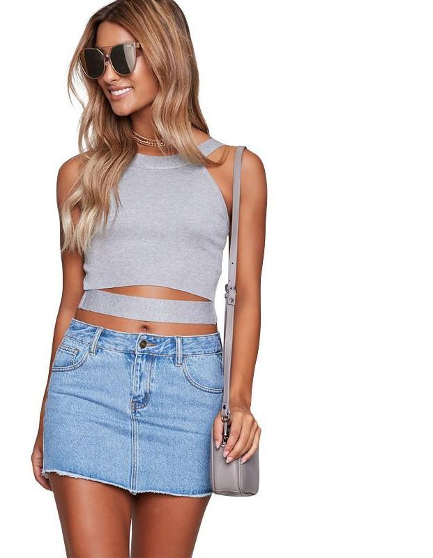 Off shoulder knitted bustier crop top Women round neck sleeveless elastic tube tank tops Summer beach sexy-Tanks-SheSimplyShops