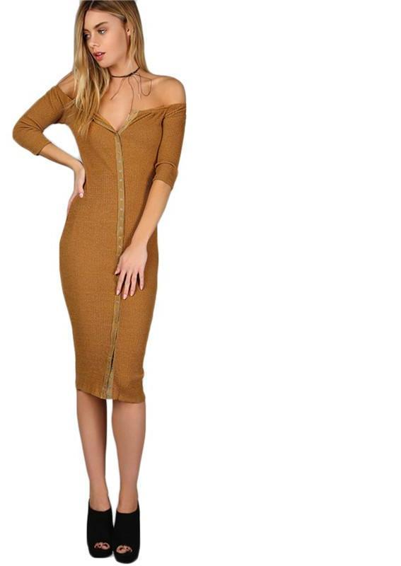 Women Brown Sexy Off Shoulder Ribbed Midi Dresses New Spring Sleeve Slim Dress-Dress-SheSimplyShops