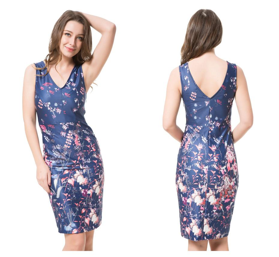 V neck Dress Womens Sexy Elegant Summer Floral Flower Half Sleeve Slim Casual Party Fitted Sheath Bodycon Dress-Dress-SheSimplyShops