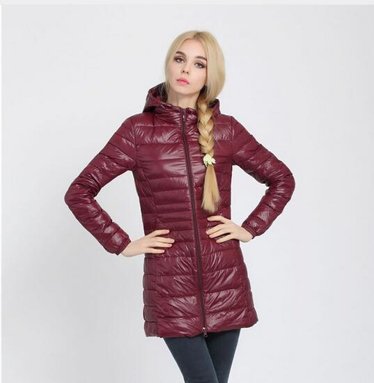 New Jacket Women Long White Duck Down Jacket Outwear Ultralight Hooded Thin Coat-Coats & Jackets-SheSimplyShops