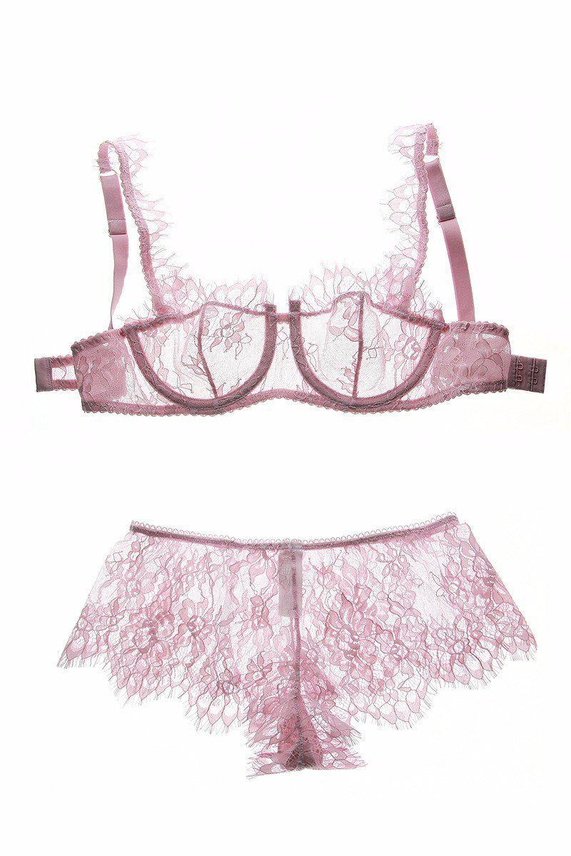 Fashion eyelash lace sexy thin transparent lace bra set underwear women set perspectivity plus size bras and panties-PANTS-SheSimplyShops