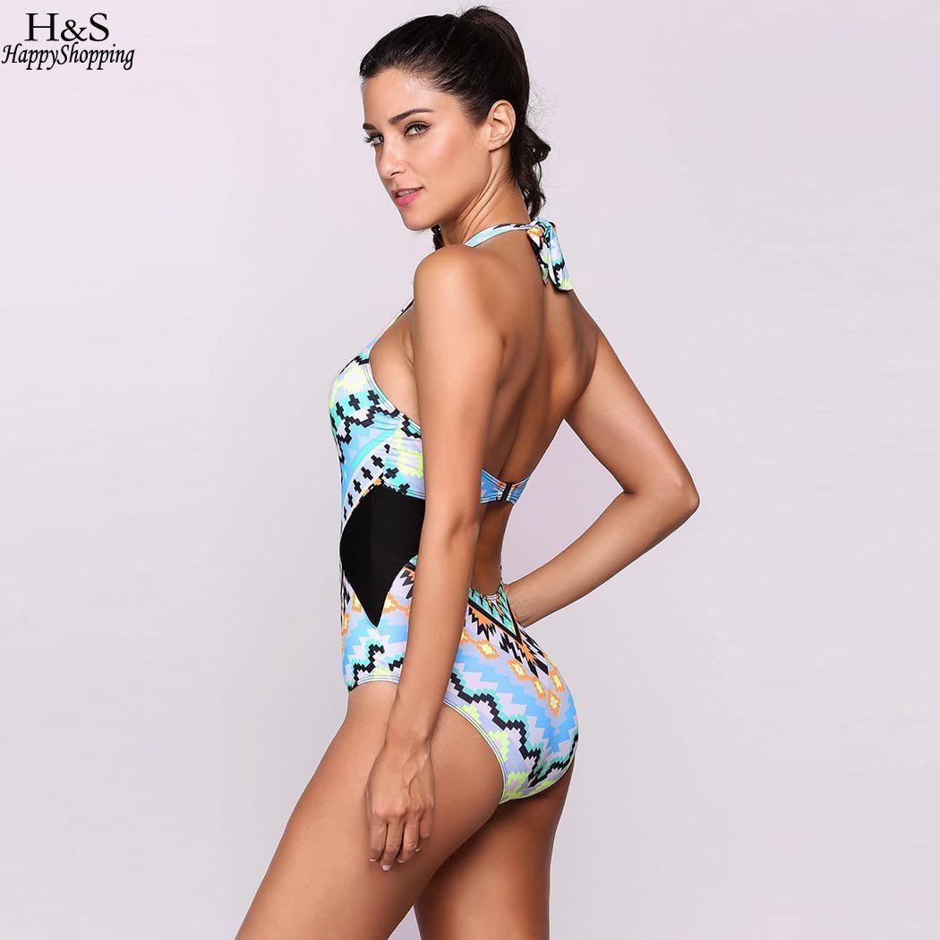 New Ekouaer sexy Women one-piece Swimsuit Padded Printed Halter Backless One Piece Swimsuit Swimwear-Tops-SheSimplyShops