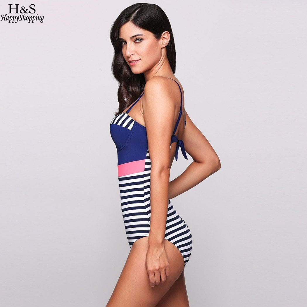 New swimsuit Sexy women One Piece Swimwear Bikini set Spaghetti Strap Striped Contrast Color Slim Blue Swimsuit-SWIMWEAR-SheSimplyShops