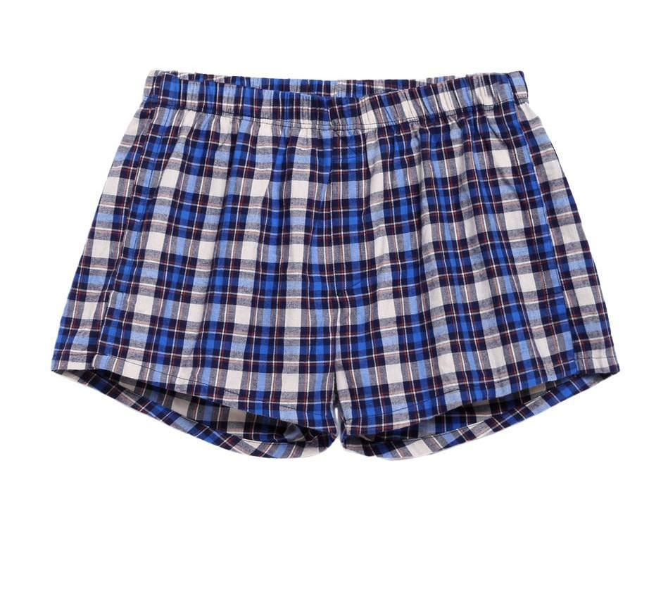 Men Cotton Underwear Casual Elastic Waist Plaid Check Boxer with Thong Boxer Shorts For Men-SHORTS-SheSimplyShops