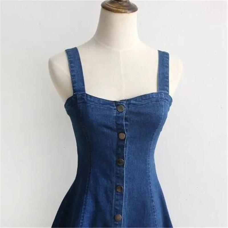 Summer Denim Dress Off Shoulder Suspender Jeans Dresses Woman Single Breasted One Piece Clothing Sexy Party wear Beachwear-Dress-SheSimplyShops