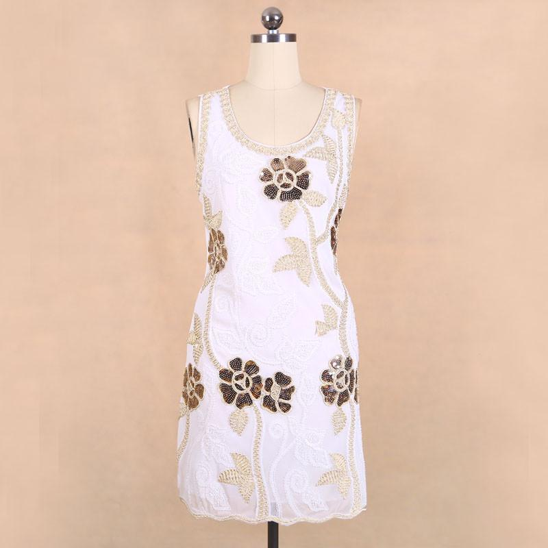 New Fashion Sequined Embroidered Flower Beading Sexy Nightclub Sleeveless Dresses Summer For Women Dress-Dress-SheSimplyShops