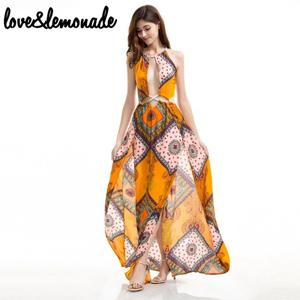 Bohemian Cut Out Geometric Shapes Maxi Dress-Dress-SheSimplyShops