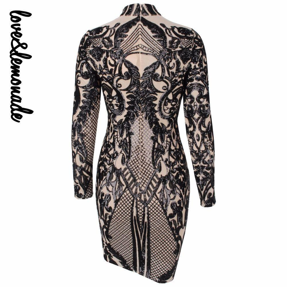 Black Geometric Graphic Sequins Nude Lining Long Sleeves Dress-Dress-SheSimplyShops