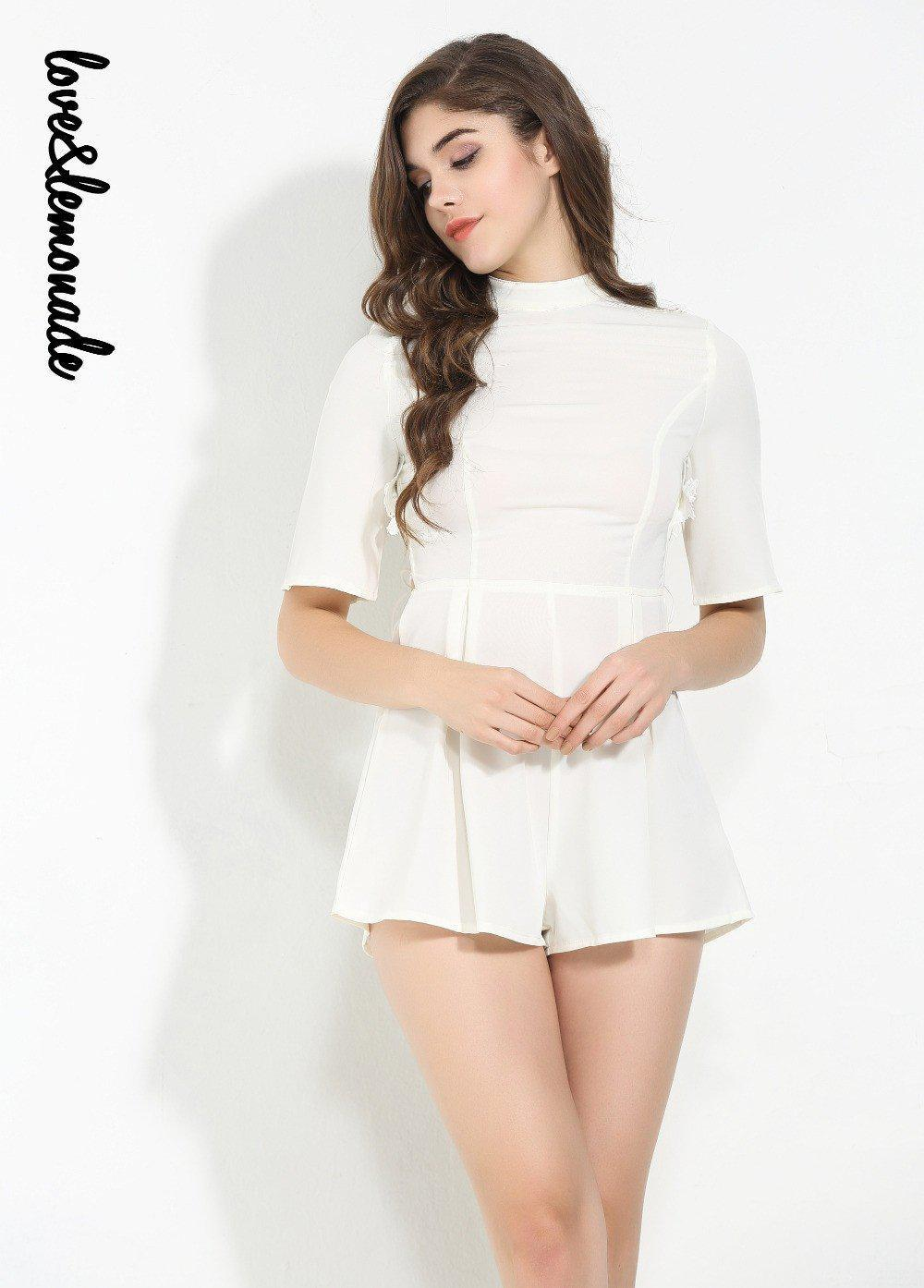 White Halter Cross Strap Lace Playsuit-ROMPERS & JUMPSUITS-SheSimplyShops